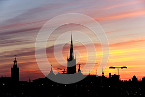 Silhouette Of Stockholm, The City Hall, Riddarholm Royalty Free Stock Image - Image: 9975896