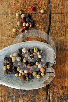 Colorful Peppercorns On A Wooden Spoon Royalty Free Stock Photo - Image: 9978315