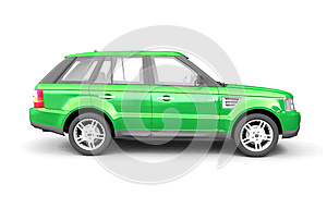 Four-wheel Drive Green Car Side View Stock Image - Image: 9978691