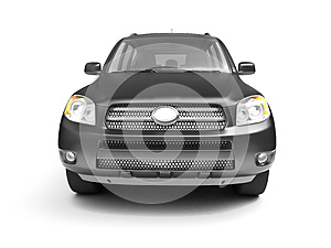 New Glossy Black SUV Front View Royalty Free Stock Images - Image: 9978699