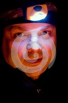 Adult Male Illuminated With Headlight Stock Image - Image: 9980471