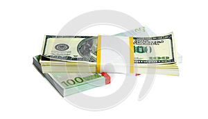 Ten Thousand U.S. Dollars And EURO In A Bundle Royalty Free Stock Images - Image: 9989059