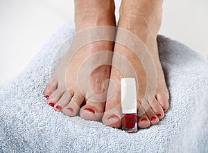 Toes With Nail Polish Stock Photo - Image: 9990700
