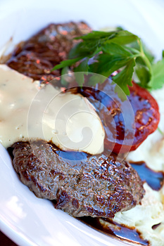Sirloin Strip Steak With Vegetables And Savory Bec Stock Photos - Image: 9992353