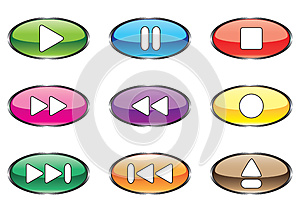 Nine Varicoloured Buttons For Player Stock Photography - Image: 9994152