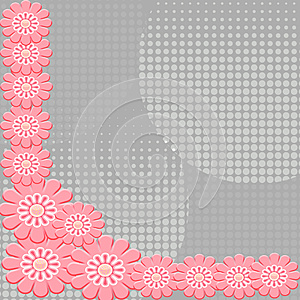 2-D Pink Flowers On Interesting Gray Background Stock Image - Image: 9994201