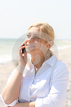 Business Woman Talks By Phone Royalty Free Stock Images - Image: 9998819