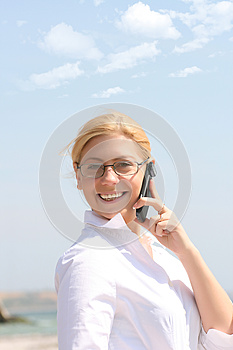 Business Woman Talks By Phone Royalty Free Stock Photo - Image: 9998875
