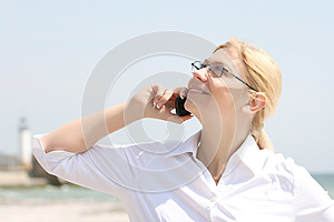 Business Woman Talks By Phone Royalty Free Stock Image - Image: 9998876