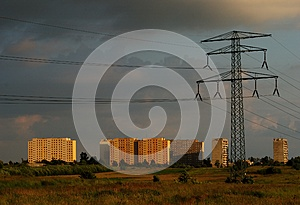 Powerline And The City Royalty Free Stock Image - Image: 9999206